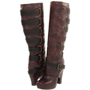 Jessica Simpson Gilly distress leather brown boot